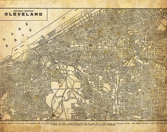 Cleveland Ohio Street Map Vintage Sepia Grunge Print Poster
