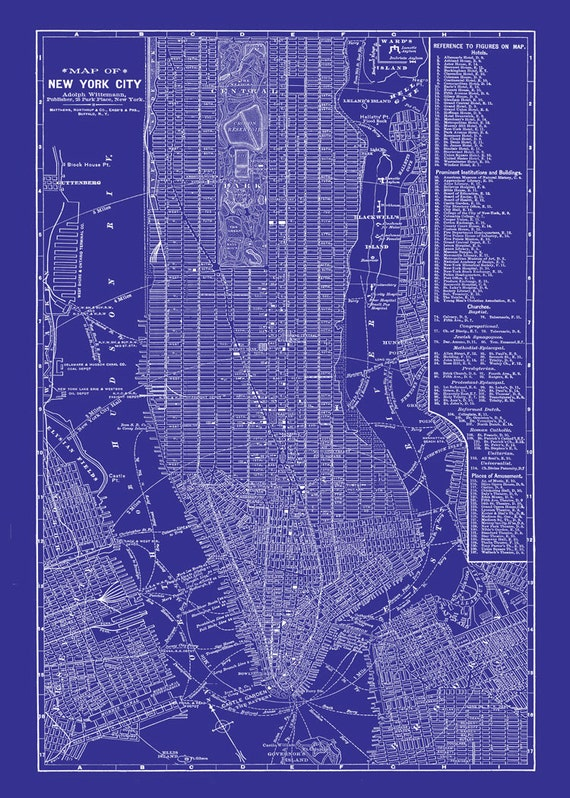New york city map blueprint 1885 map of new york newark like this item malvernweather Image collections