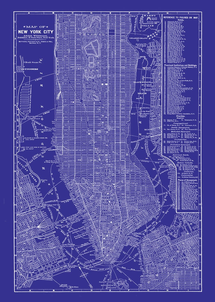 New york city map blueprint 1885 map of new york newark for Where to buy blueprint paper