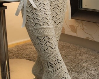 Natural white knee socks with beautiful lacy pattern, 100% alpaca