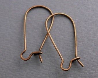 KIDNEY-COPPER-28MM - 100 pcs of 28mm Antique Copper Kidney Hoop Earring Findings