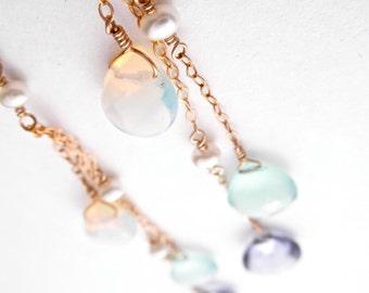 Makapu'u Earrings - Opalite, Chalcedony, & Mystic Quartz - 14k Gold Fill