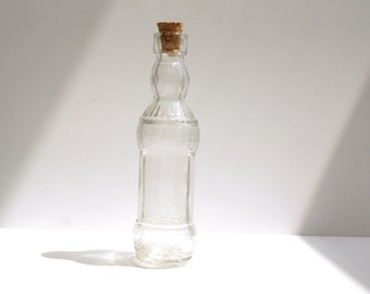 "Decorative Clear Glass Bottle with Cork (5"" tall), Style 9 - Small bottle perfect for spices, bath salts,  vases, and more"