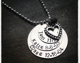 PERSONALIZED Hand Stamped Layered Silver (3) Disc Tag Necklace