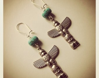 Totem Pole Dangles-Silver and Turquoise Hand stamped Totem Pole Earrings, Native, Tribal