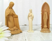 Blessed Mother Set of 3 Figures - Vintage Celluloid Plastic Composite Collection of Three Statues of Mary - Religious Statues Collectibles