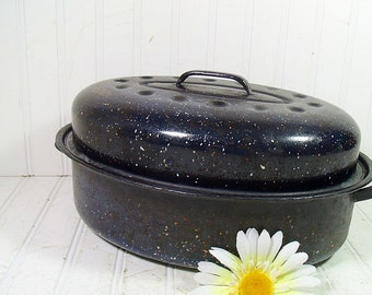 Vintage Blue Graniteware Medium Roasting Pan - Retro Navy Enamelware Lidded Oval Pot - 2 Piece Spatterware KitchenWare
