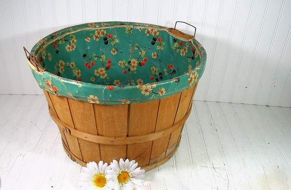Vintage Oversized Round Wooden Laundry Basket By DivineOrders