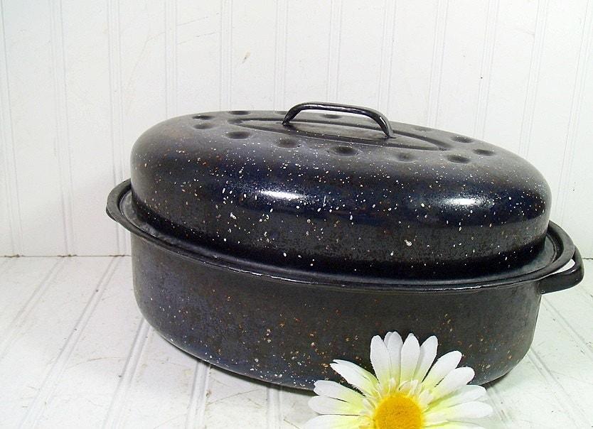 Roasting Pan Blue Graniteware Medium Size Retro Navy