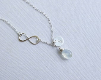 Sterling Silver Infinity Birthstone Initial Necklace  -- Personalized Choose Your Stone (Moonstone Shown)-- Mothers Bridesmaids