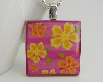 Hibiscus Pendant with Free Necklace