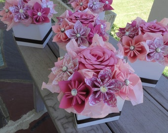 RESERVED Origami Paper Flower Centerpiece -Set of 7 Kusudama Pink Small Wedding Centerpiece Shower Decor