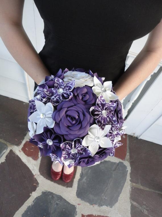 purple flower wedding bouquet large rose paper flower bridal