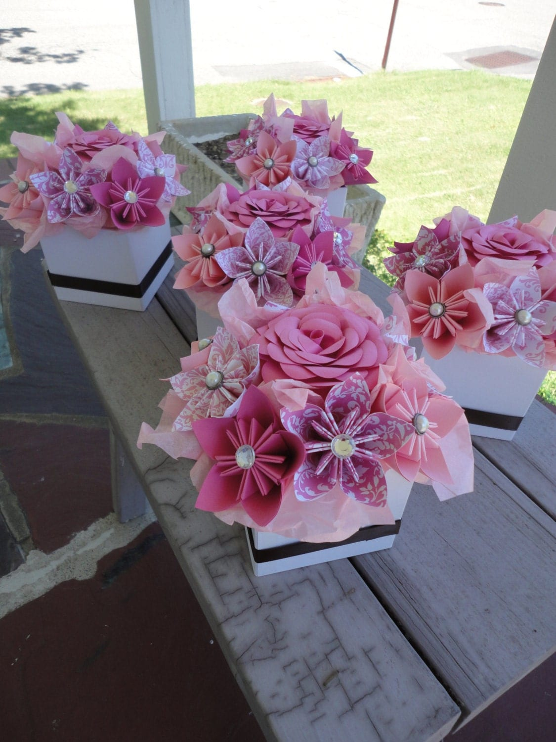 Origami paper flower centerpiece set of kusudama pink small