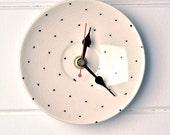 Black and Cream Polka Dot Vintage Plate Wall Clock