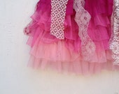 Party time young girl frou frou ballet pink boho lace little girl gypsy Prairie Shabby fairy tattered eco tulle party skirt