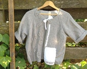 summer grey gray upcycled wool leaves vintage linen warm boho gypsy shabby chic sweater shrug
