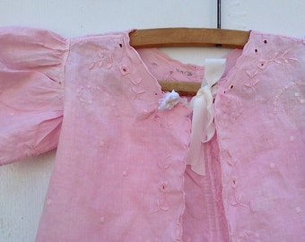 heirloom summer rose sweet pink antique frock blouse child prairie toddler hand dyed hand embroidery gift