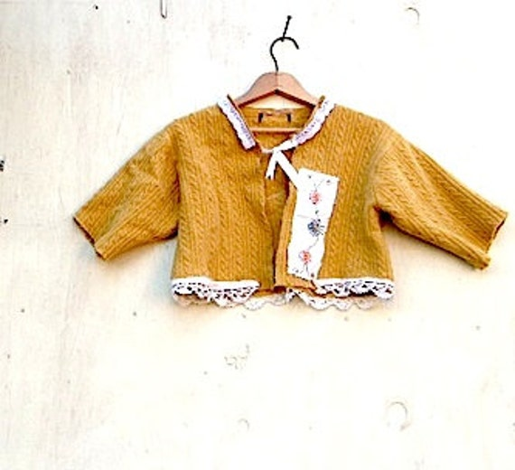 SALE shrug, eco, golden  mustard sweater, citrine honey Vintage russet caramel  lace Felted wool  Style, rustic cardigan