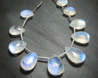 Rainbow Moonstone Beads Rainbow Moonstone Gemstone Faceted Briolette Pear Drops Size 6x9mm to 7x10mm Approx  AAA Quality Wholesale Price
