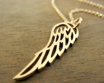 Angel Wing Necklace | Golden Bronze Wing Charm | Gold Wing Necklace | Angle Wing Charm Memorial Necklace | 14K GF Chain by E. Ria Designs