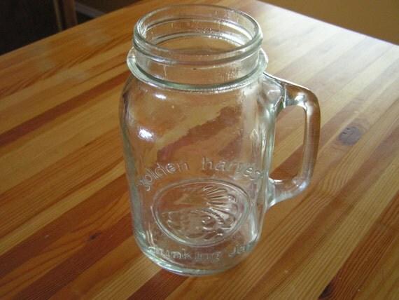 Large Golden Harvest Drinking Jar Mug Canning Jars
