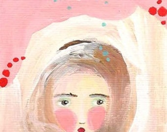Original painting ACEO, whimsical girl ACEO, acrylic folk art, Bubble thoughts