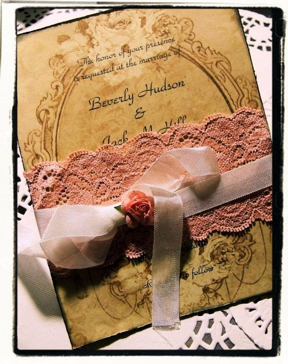 High end Peaches and cream lace collection wedding / bridal shower invitation