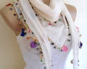 cotton scarf, Necklace scarves, Traditional Turkish-style, Headband,  Ivory scarf, crochet scarf,  fashion 2013