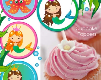 INSTANT DOWNLOAD - Mermaid, Printable Cup Cake Toppers - 2 inch circles.