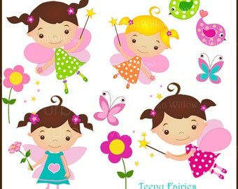 TEENY FAIRIES - 10 piece clip art set (Png & Jpeg files).