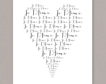 "PRINTABLE 8x10 ""Je T'Aime"" (French I love you) Heart Poster - PDF Digital File"