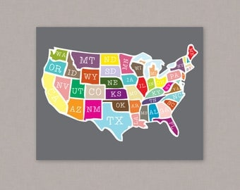 PRINTABLE 8x10 poster of the United States -- PDF digital file