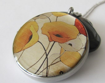 Photo Locket Necklace  Silver Necklace Locket  Image Locket  Picture Locket Gift Jewelry, Yellow Poppies