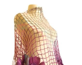 CROCHET SHAWL purple grey  Flower Mohair Triangle  wedding bride   scarf wrap warm collar