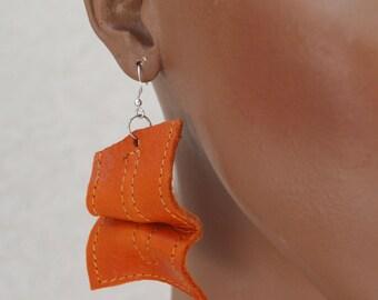 Sunset Orange Tangerine Leather Sculpted Dangle Earrings