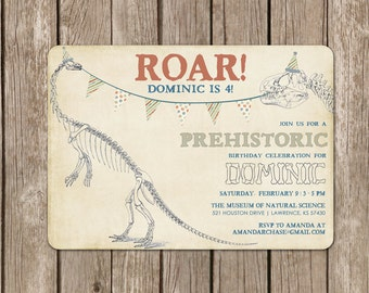 Dinosaur Invitation - DIGITAL FILE (I design, you print DIY) - perfect for a dino birthday party - customized to any color