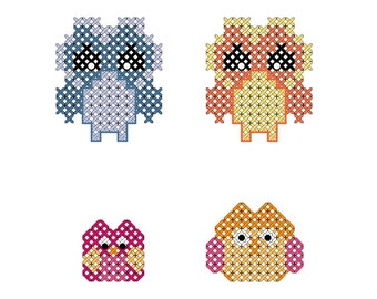 Mini Cross Stitch Pattern Owls - Mini Owls to Add to small projects Instant Download PDF file