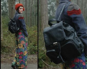 LEATHER BACKPACK vintage Pebble Grain BLACK Drawstring Rucksack Bookbag