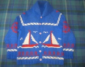 Vintage 50s COWICHAN hand Knit Wool Sweater Sailboat BOATS Blue, Red, White m/l
