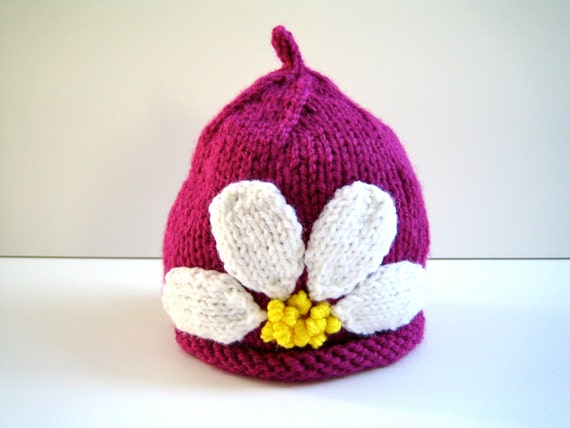 Knit Girls Hat,  Raspberry pink, size 1 - 3 years, daisy flower, handmade, ready-to-ship