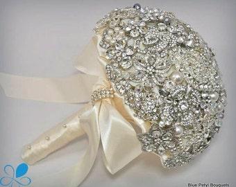 FULL PRICE (not a deposit) SMALL Diamante Brooch Bouquet - by Blue Petyl - Bridal Bouquet - Wedding Bouquet