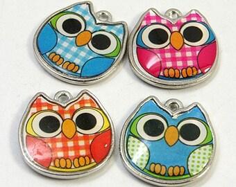 10 Silver Metal OWL Charm Pendants  CHE0005