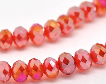 """8mm Transparent SIAM RED AB Faceted Glass Crystal Rondelle Beads  16.5"""" strand  bgl0591b"""