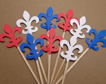 24 Fleur De Lis Red White Blue Food Picks - Cupcake Toppers - Party Picks