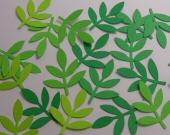 100 Mixed Green Fern Paper Punches Die Cuts Scrapbooking Embellishments Confetti