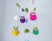 Owls and Flowers Mobile - PDF Crochet Pattern PHOTOTUTORIAL - Instant Download - Nursery Baby Shower Animal Cuddy Stuff Plush