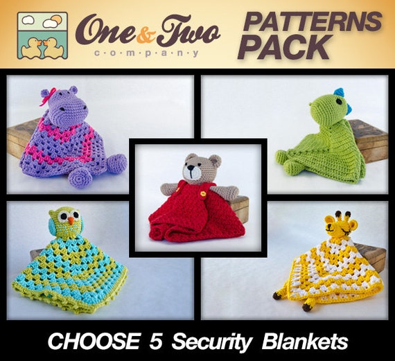 SPECIAL OFFER - Choose 5 Animal Security Blankets PDF Crochet Patterns - Text instructions and Symbol Chart instructions