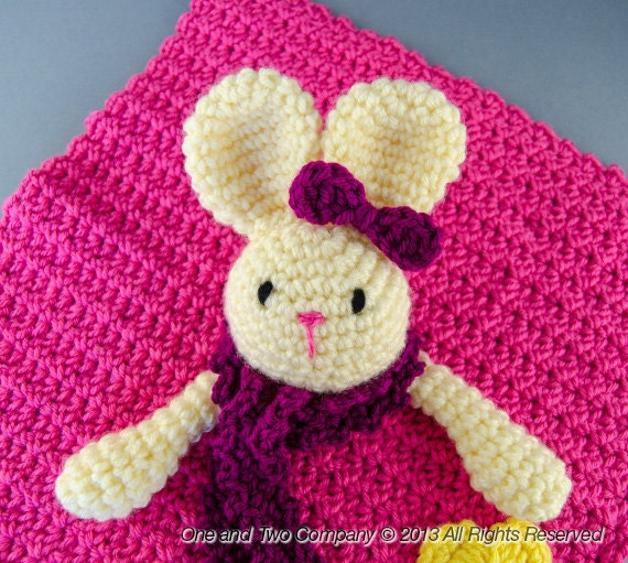 Instant Download - NEW PDF Crochet Pattern - Olivia the Bunny Security Blanket - Text instructions and SYMBOL Chart instructions