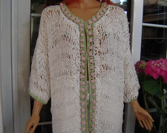 SALE jacket handmade knitted oversized kimono/long cardigan in white with roses all size ready to ship for her by golden yarn.
